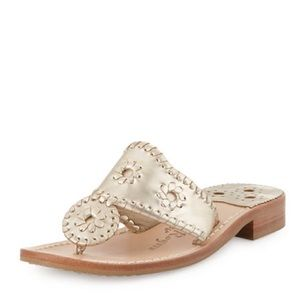 Jack Rogers Whipstitch Thong Sandals Platinum
